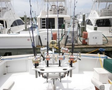 Fishing rods on boat deck